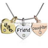 Two Tone Sterling Silver Mother Daughter Friend Three Heart Diamond Accent Pendant Necklace