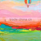 The top of the hill the balloon flying red sky green mountain handmade classic decoration oil painting in canvas