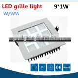 Fashionable energy saving showroom/office 9w down light led grille square, 9watts ceiling led grille lighting fixture