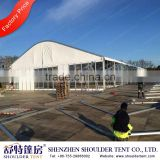 Golf tent with all around glass walls & full sets of flooring lining & curtain decoration