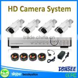 ahd security camera system for indoor and outdoor,4ch bullet 1080 HD camera system with long ir-distance and zoom lens