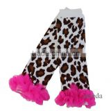 Baby Hot Pink Ruffles Brown Leopard Leg Warmers