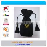 Decorative Suede Customized Embroidered Jewelry Bag with Tassel