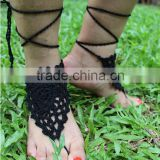 Crochet Barefoot Sandals Beach Wedding Yoga Shoes Foot Jewelry Black khaki blue white