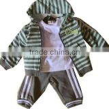 spring child jacket Tshirt and pants sets strpe casual sport set with hood 3pcs clothing set baby clothes set
