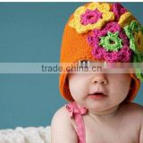 Girls Floral Chic Hand Knit Crochet Beanie Hat kufi M