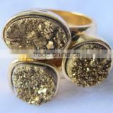 2015 Hot Druzy Jewelry 925 Sterling Silver multigem 3 stone ring gold plated druzy quartz and gold plated silver ring