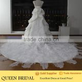 Real Works China Custom Made Dubai Muslim Wedding Dress with Cathedral Train