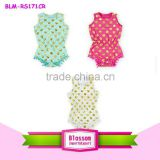 Wholesale baby pompom jumpsuit pom pom romper baby girl comfortable pompom rompers with golden dots