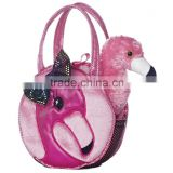 St china flamingo pet carrier toys with cage pink bird toys with bag