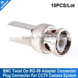 10Pcs/lot CCTV RG59 Coax BNC Connector Coax BNC Twist Adapter Cable