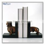 polyresin brass painted dog bookends decorative bookends
