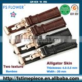 FS FLOWER - High Quality Leather Watch Strap Authentic Alligater or Calf Skin With Steel Buckle