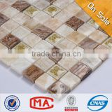 HF JY-MX-SC02 wall tile square unique ceramic mosaic manufacturer flower carving pattern beige stone mosaic mixed tiles for wall