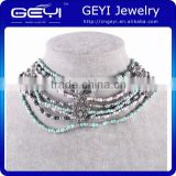 2014 Factory Wholesale New Design Pearl Necklace folk styles glass beaded bib necklace folk styles glass beaded bib necklace