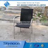 stainess steel chair, rattan wicker chair, modern garden patio sets, black stackable outdoor furniture(ssc001)