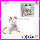 A243 High Quality White Fur Mouse Puppet Plush Animal Mouse Hand Puppet