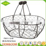 Handmade small chicken wire basket wholesale with handle