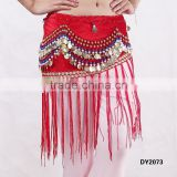 Tribal belly dancing beaded hip scarf belly dance coins belt with tassel