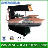 Fast printing speed four stions heat transfer press machine for mass prioduction of tshirts