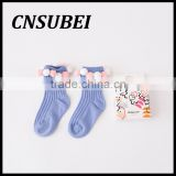 South Korea cute travel children socks with cotton balls,pure cotton contrast-color creative at home socks