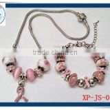 Jewelry set enamel pink ribbon Breast Cancer jewelry/pink breast cancer necklace/breast cancer bracelet
