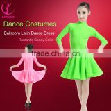 New Girls Candy Color Ballroom Tango Dance Costumes 3/4 Long Sleeve Dance Practice Clothing Turtleneck Toddler's Party Dress
