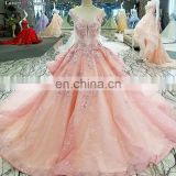 LS00271 cap sleeve appliques pink lace evening dress real heavy beaded girls evening dress