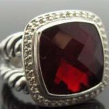 Inspired DY Sterling Silver 14mm  Garnet Albion Ring for Women