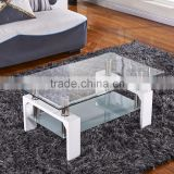 Modern glass coffee table with Shelf Contemporary Living Room                                                                         Quality Choice