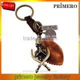 Retro Punk Jewelry Alloy Skull Braided Men Real Leather Skeleton Key Chains