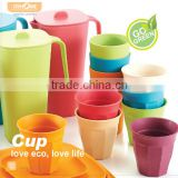 Bamboo fibre food grade colorful design water 250ml cup