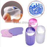 Transparent DIY Nail Art Stamping Stamper Scraper Set 2.8cm Clear Jelly Nail Polish Stamp
