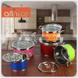 Color Coating 10pcs stainless stock pot set withRiveted stainless-steel handles and 3ply bottom for induction