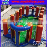 Multifunctional inflatable football pitch combo with inflatable volleyball court and basketball hoop