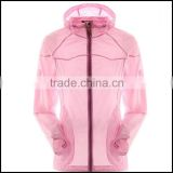 spring and summer of sun protection clothing and thin jacket sport for ladies and with front -zip waterproof rain jacket