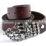 Business Men Accessory Cool Skull Element Design Buckles Fine Leather Belts Shenzhen promotion Products