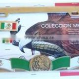 Mexico Flag on Gold Plated Brass Kit Frame
