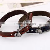 Braided leather bracelet cuff with metal snap closure Adjustable Genuine leather
