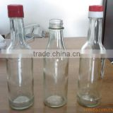 Soy sauce glass bottles with plastic lids seasame oil glass bottles