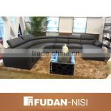 Elegant black leather couch set price in India