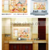 Cute cartoon girl background removable Kitchen tiles oil proof aluminum foil oil paste decorative Kitchen wall stickers AY3007