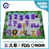 New Design Children feeling silicone table mat embossed numbers baking mat full printing placemat