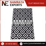 Premium Grade Black and White Flat Weave Cotton Rug with Checkered Design from Popular Distributor