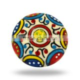 Ceramic Embossed Red Blue Yellow Flower Knob