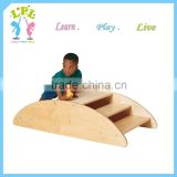 Custom high quality school furniture kids wooden Step rocking boat wooden nursery school furniture