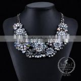 high quality vintage rhinestone flower chunky statement necklace tin alloy fashion women pendant necklace 6390057