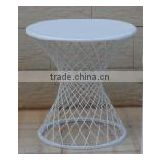 XY131256 home outdoor furniture white metal table, glass top table, wrought iron coffee table legs