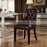 Wholesale Wooden Frame Genuine Brown Leather Dining Chair With Buttons(MOQ=1PC)