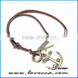 Wholesale Bronze Tone Anchor Pendant Necklace Brown Adjustable Vintage Leather Cord Necklace